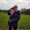 sam Jenkins in her maternity walking coat