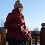Jo wearing mother and nature maternity fleece