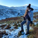 stacey hiking in the Scottish hols wearing her mother and nature maternity walking trousers